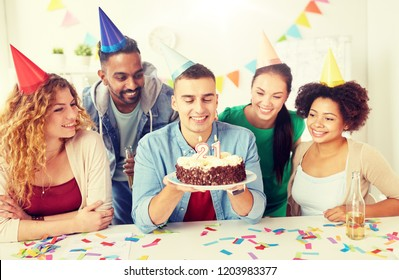 corporate party and people concept - happy team with cake and non-alcoholic drinks celebrating colleague 21st birthday at office