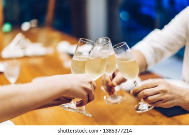 Corporate party sparkling champagne glasses - selective focus point