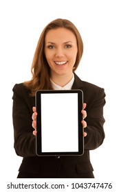 Corporate portrait of young beautiful caucasian business woman surfinh internet on tablet isolated over white background