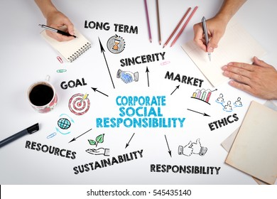 Corporate Social Responsibility Concept. The meeting at the white office table