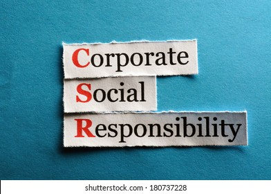 Corporate social responsibility (CSR) concept on paper