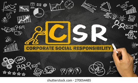 corporate social responsibility csr concept hand drawing on blackboard