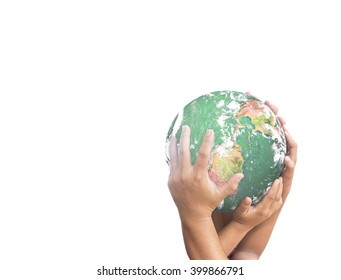 Corporate social responsibility (CSR) concept: Two worker hands holding earth globe isolated on white background. Elements of this image furnished by NASA
