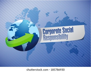 corporate social responsibility globe sign illustration design over a world map background