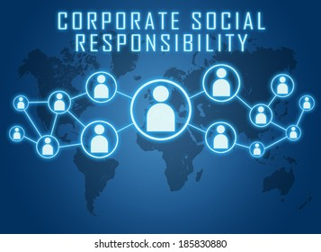 Corporate Social Responsibility text concept on blue background with world map and social icons.