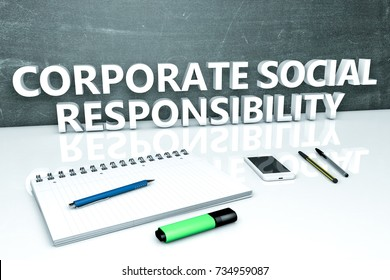 Corporate Social Responsibility - text concept with chalkboard, notebook, pens and mobile phone. 3D render illustration.