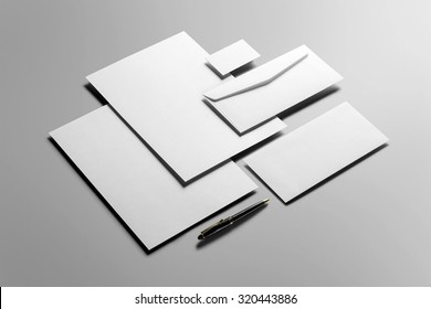 Corporate Stationery, Branding Mock-up, deep shadows, with clipping path, isolated, changeable background.