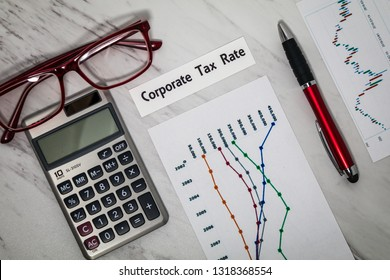 Corporate Tax Rate still life business finance concept with calculator and tax forms, flat lay
