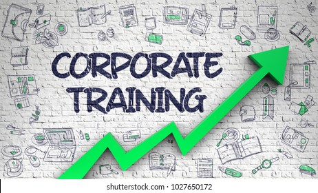Corporate Training - Development Concept with Doodle Icons Around on White Wall Background. White Brickwall with Corporate Training Inscription and Green Arrow. Business Concept.