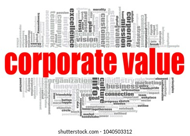 Corporate value word cloud concept on white background, 3d rendering.