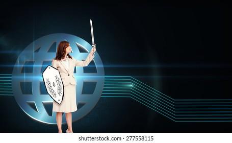 Corporate warrior against shiny globe on black background