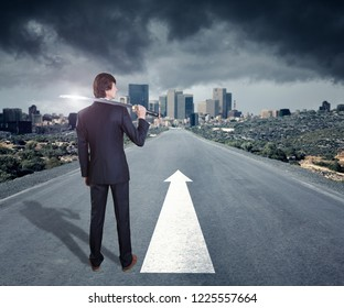 Corporate warrior with japanese sword against cityscape on the horizon