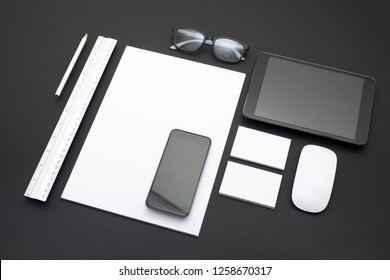 Corporate and web application design identity template on black background