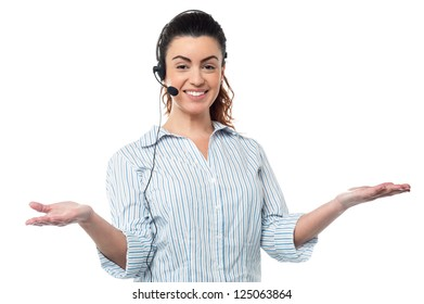 Corporate woman wearing headset and communicating.
