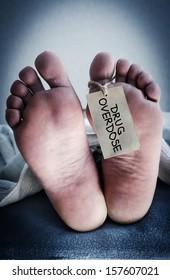 Corpse of a drug addict.
