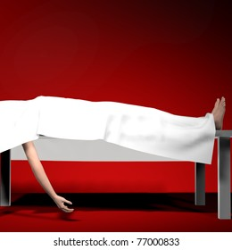 Corpse under white sheet on autopsy table Feet and one arm exposed. Red graduate background. Illustration