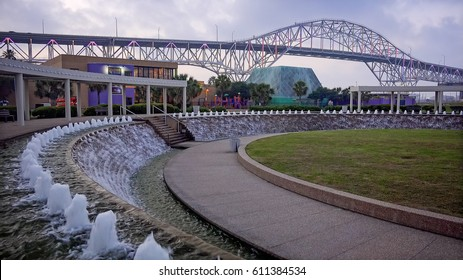 Corpus Christi Harbor Bridge from the Water Gardens at Bayfront Science Park at night