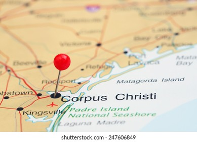 Corpus Christi pinned on a map of USA