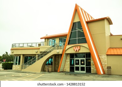 CORPUS CHRISTI, TEXAS - CIRCA OCTOBER 2018: Whataburger is a popular southern chain of fast food resturants founded in Corpus Christi, Texas. The chain was purchased by a Chicago firm in June 2019.
