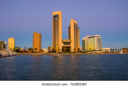 Corpus Christi , Texas Skyline Cityscape right before the sun came up with a nice tranquil morning view of the downtown twin towers