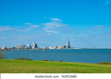 Corpus Christi Texas sunny day along the coastal bend with nice blue water in the Gulf of Mexico and amazing nice day on thanksgiving