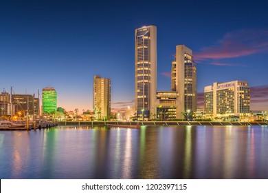 Corpus Christi, Texas, USA downtown skyline at twilight.