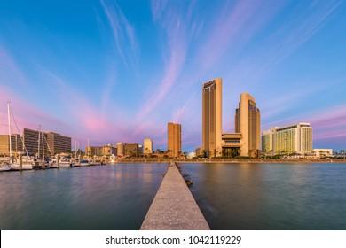 Corpus Christi, Texas, USA skyline on the bay.