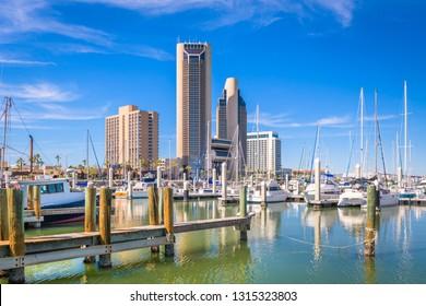 Corpus Christi, Texas, USA skyline on the bay in the day.