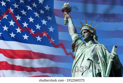 Correction of USA stock market. Correction chart on background of USA flag. Fall of United States stock indices. Correction in securities market during crisis. Collapse of American Stock Indices. - Shutterstock ID 1912369273