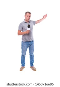 Correspondent or presenter with a microphone on a white background.