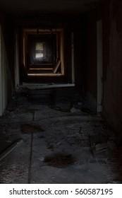 corridor of abandoned russian hospital