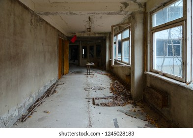 Corridor in abandoned school building, dead uninhabited ghost town of Pripyat in Chernobyl NPP alienation zone, Ukraine