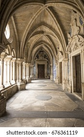 Corridor of an ancient castle in Portugal