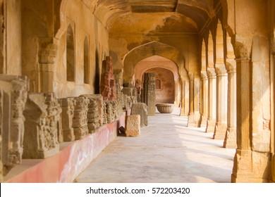 A corridor at the ancient Chand Baori stepwell in Abhaneri, Rajasthan, India.