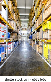 Corridor with big shelves in distribution warehouse