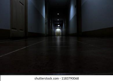 Corridor in a building on halloween night.