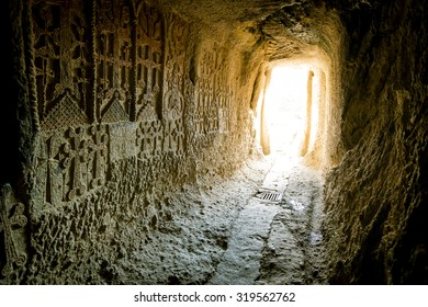 corridor carved in stone, Geghard monastery, Armenia