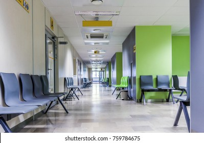 Corridor with chairs for patients in a modern hospital