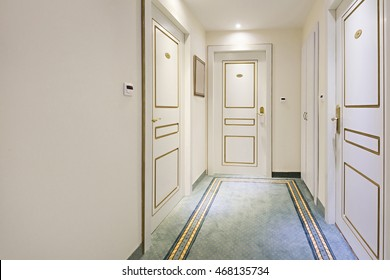 Corridor with closet in hotel room