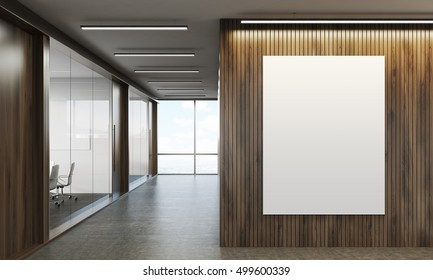 Corridor of company with wooden walls, vertical poster and conference room with glass walls. 3d rendering. Mock up. Toned image