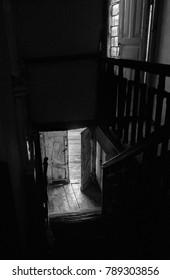 the corridor is dark .