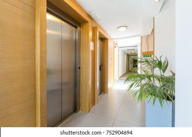 Corridor with elevator doors