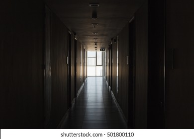 Corridor in empty condominium, perspective