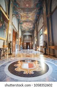 Corridor in the Grand Master's Palace. Located in Valletta, Malta. 13 March 2018