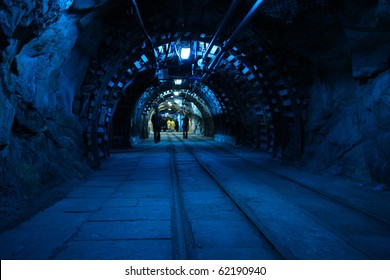 Corridor in a historical mine in Poland