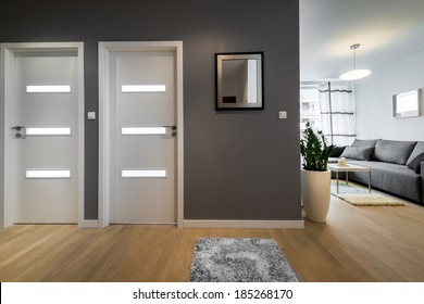 Corridor and living room  in modern apartment with gray walls