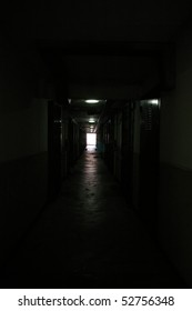 Corridor of a old Hong Kong public housing estate, black and white