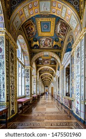 The corridor of the Raphael Loggias, inside the Hermitage Museum, St Petersburg, Russia on 23 July 2019