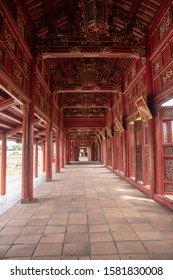 Corridor and red doors in the Forbidden Purple City of The Imperial City, the  walled enclosure within the citadel (Kinh thành) of the city of Huế, the former imperial capital of Vietnam