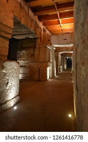 Corridor In the Roman Colosseum - Flavian Amphitheatre Interior During Night Tour at Piazza del Colosseo, Rome, Italy on November 30th, 2018